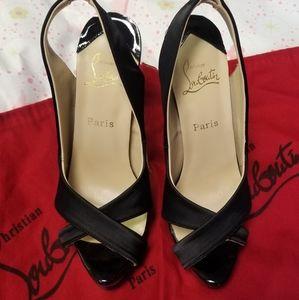 "Christian Louboutin black open toe 6"" heels sz 38"